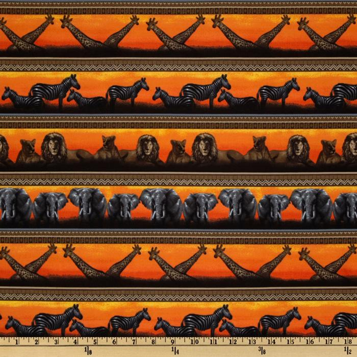 Serengeti Animals Repeating Stripe Orange