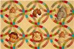 Jungle Babies Panel Animal Circles Tan