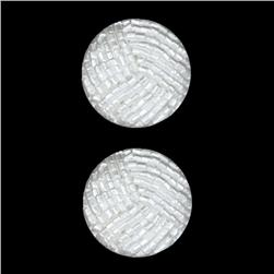 Novelty Button 1 1/8'' Perles White