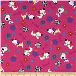 0286353 Fabri-Quilt Cuddle Flannel Dogs Woof Pink