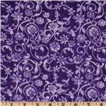 FN-500 108'' Tonal Scroll Quilt Backing Purple