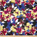 0290348 Bloom Stretch Cotton Sateen Flowers Royal