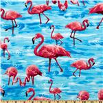 Timeless Treasures Tropical Flamingos Blue