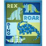 FK-187 Dino Roars Flannel Quilt Panel Blue
