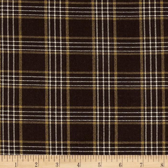 Stretch Brushed Cotton Blend Suiting Plaid Brown/Gold