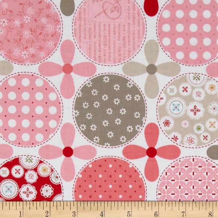 Riley Blake Polka Dot Stitches Designer Pink