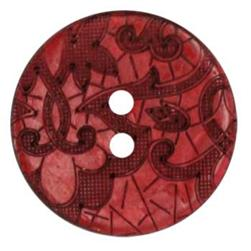 Genuine Coconut Button 1 1/4'' Scrolls Wine