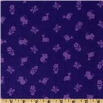 FU-856 Timeless Treasures Flower Power 21 Wale Corduroy Tonal Birds & Mice Berry