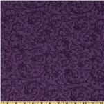 "Baroque 108"" Quilt Backing Flourish Purple"
