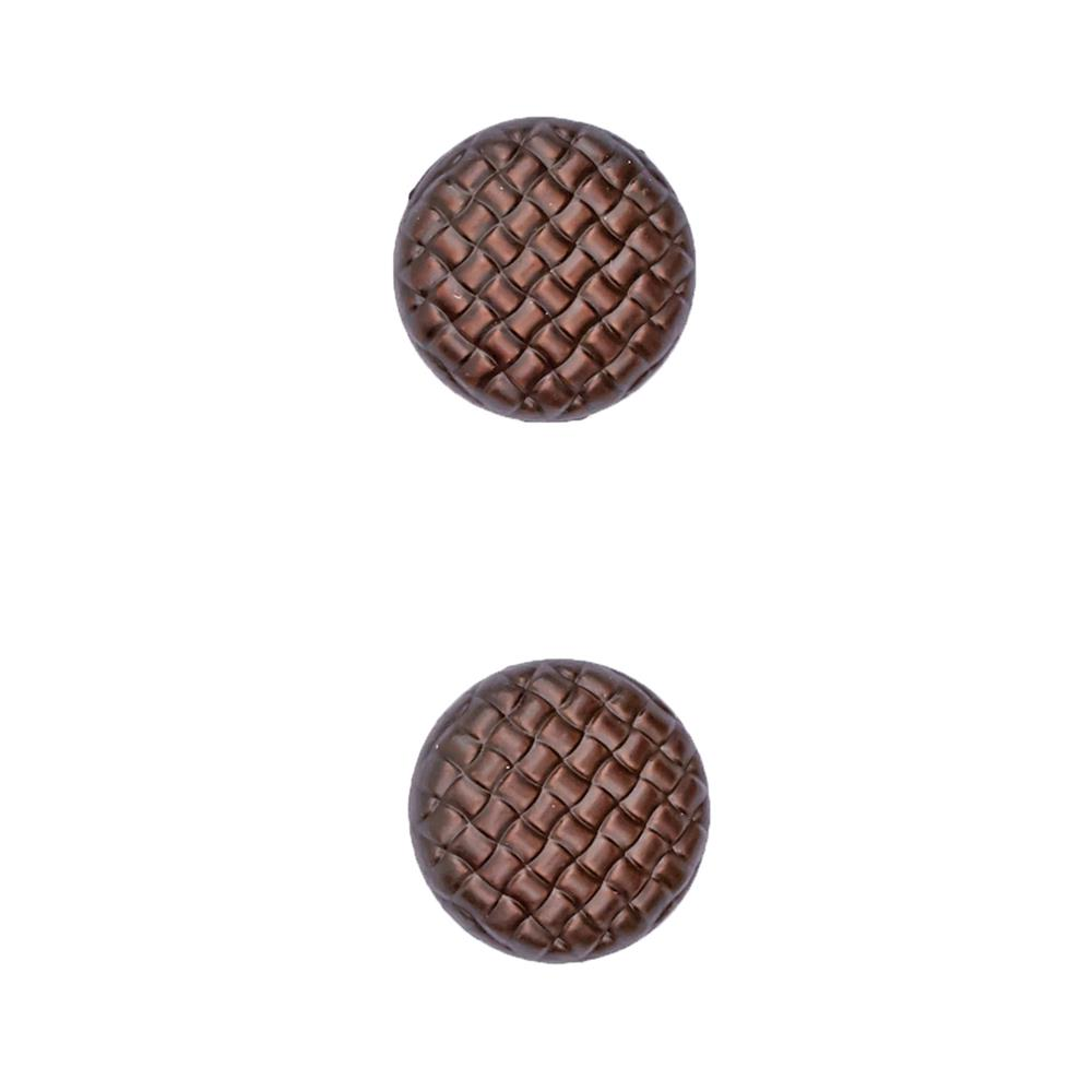 "Fashion Button 3/4"" Lattice Dark Brown"