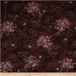Asuka Metallic Asian Toile Wine/Silver