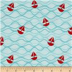 0271956 Riley Blake Maritime Modern Come About Tossed Ships Aqua
