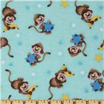 FT-572 Comfy Flannel Monkey Star Aqua