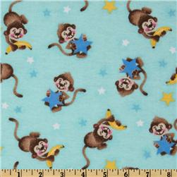 Comfy Flannel Monkey Star Aqua