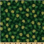 FO-245 Ho Ho Ho Christmas Trees Allover Green/Metallic