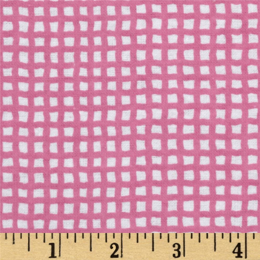 Alpine Flannel  Basic Check Bright Pink/White