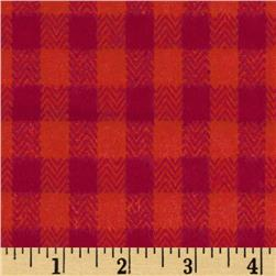 Primo Plaids Flannel Yarn Dyed Herringbone Check Red