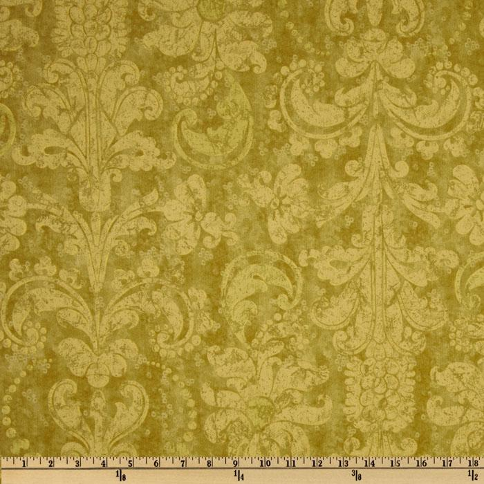 French Twist Damask Lime Green