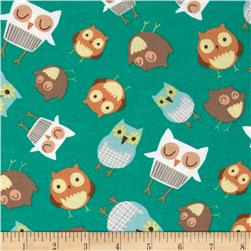 Wonderful Woodlands Owls Allover Teal