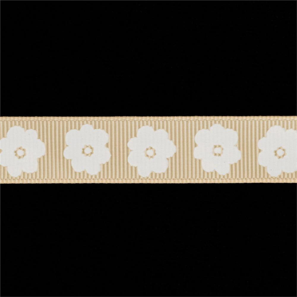 "Riley Blake 5/8"" Grosgrain Ribbon Flower Cream"