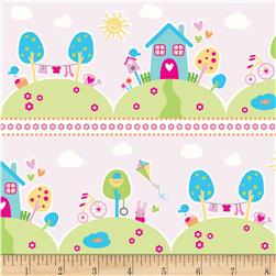 Riley Blake Sweet Home Scenic Stripe Pink