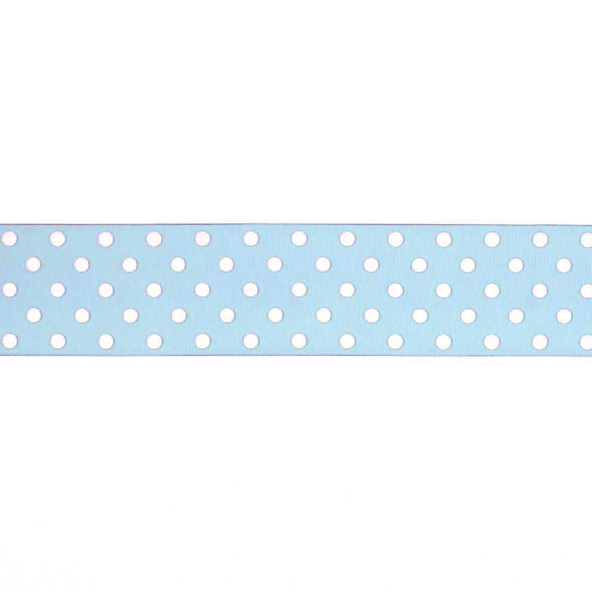 1.5&quot; Grosgrain Polka Dots Light Blue/White