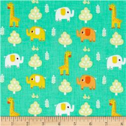 Happy Jungle Junge Animals Tossed Elephants/Giraffes Turquoise