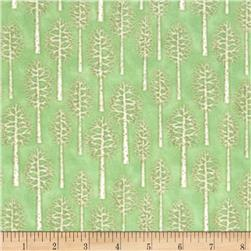 Snow Babies Flannel Birch Trees Green