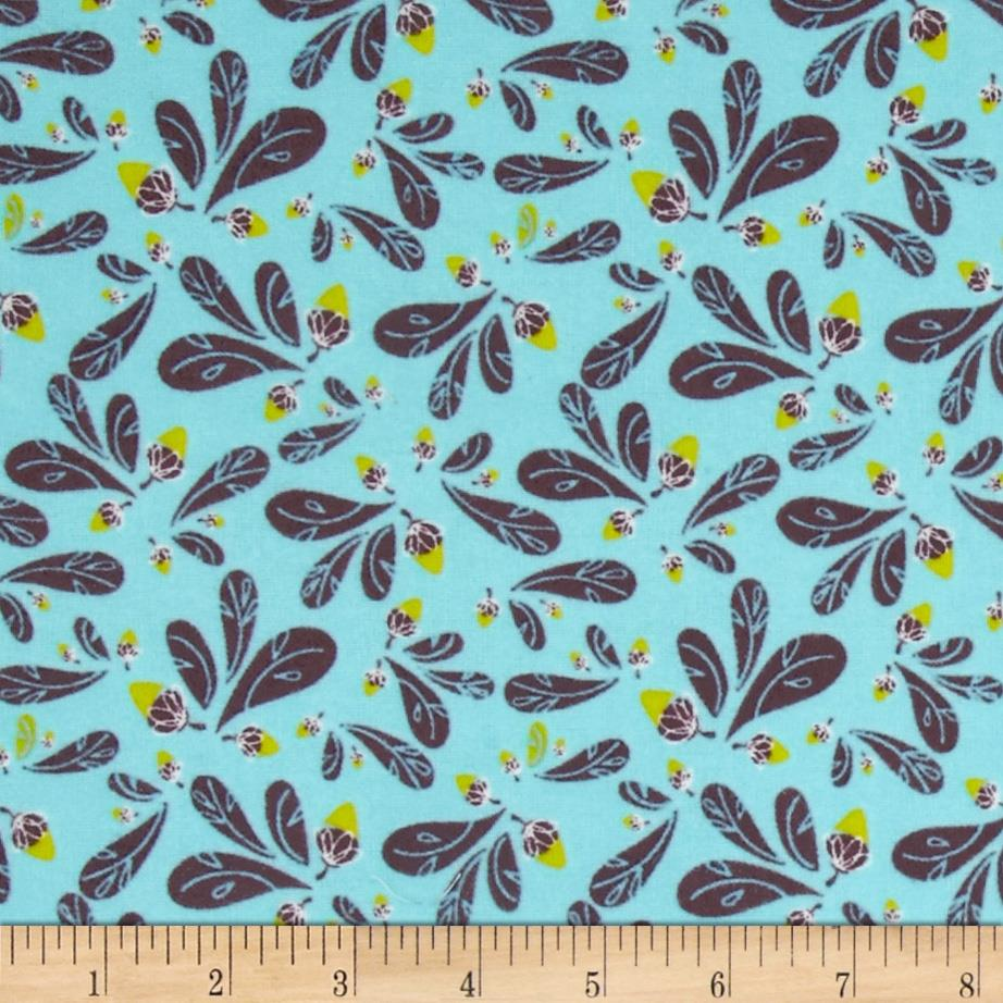 Whoo's Cute Flannel Leaves Blue