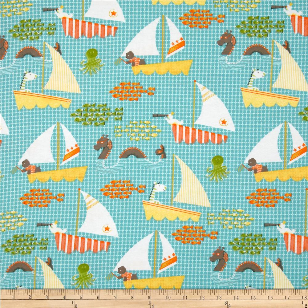 Adventure Land Flannel Open Sea Adventure Teal