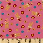 206341 Tiny Prints Tossed Floral & Bunnies Pink