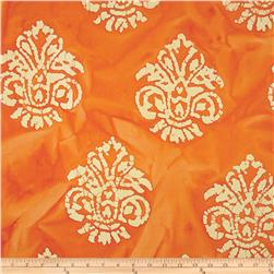 Indian Batik Arcadia Damask Orange