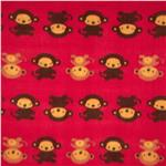 Printed Fleece Monkey Business Red