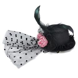 "10"" X 2-1/2"" Fascinator Mini Top Hat Lindsey Black"