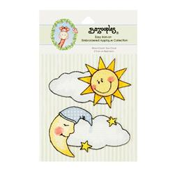 Iron-On Embroidered Applique Bazooples Moon Cloud/Sun Cloud