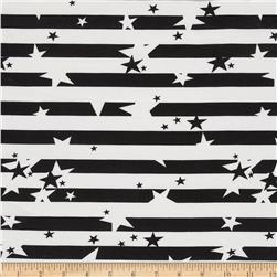 Crepe de Chine Star Stripe Black/Cream
