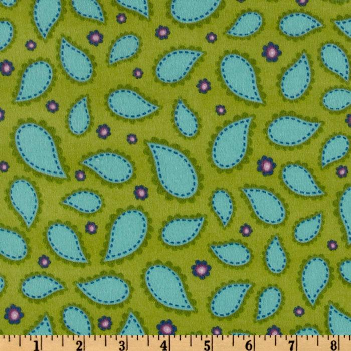 Pretty Paisley Flannel Scalloped Paisleys Garden Green