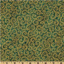 Royal Peacocks Scrolls Metallic Green