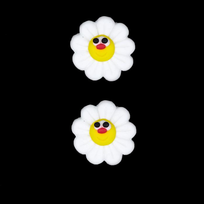 Novelty Button 3/4&#39;&#39; PR Daisy White/Yellow