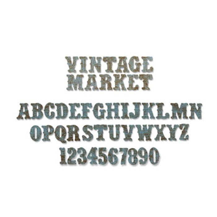 Sizzix Sizzlits Tim Holtz Decorative Strip Die Alphabet & Vintage Market