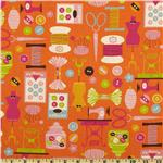 FK-709 Kokka Trefle Cotton/Linen Canvas Sewing Notions Orange