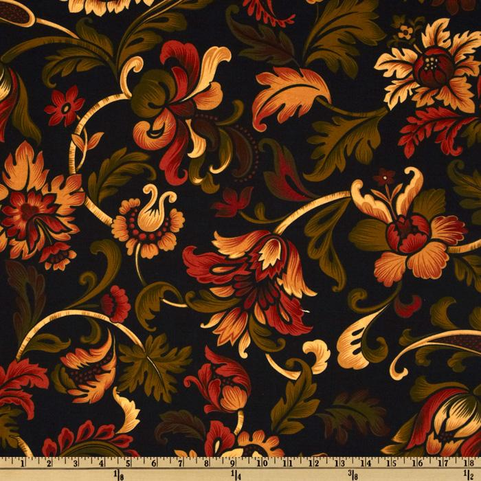 Spice Market Flannel Jacobean Floral Black