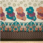 0281185 Cotton Lawn Garden Border Turquoise