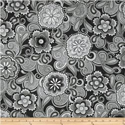 Hip Happier Large Floral Paisley Black/White
