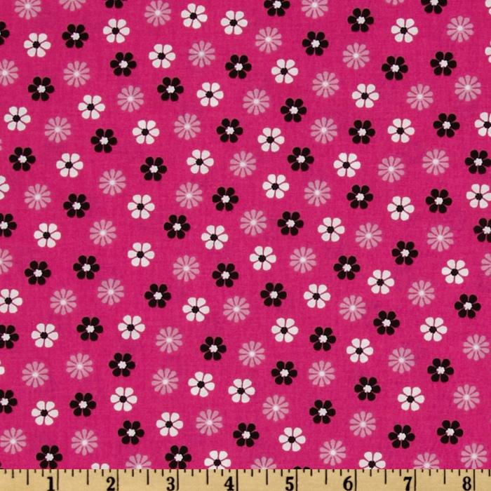 Floral Allover Daisies Pink/Black