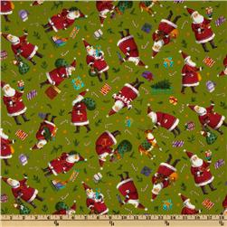 Moda Holly Jolly Santa Lime Green