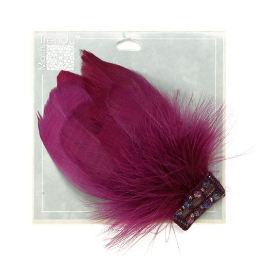 Disco Feather Brooch 2-1/2&#39;&#39; x 5&#39;&#39; Plum