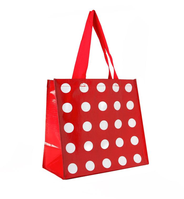 Insta-Totes Shopping Tote Red With White Dots