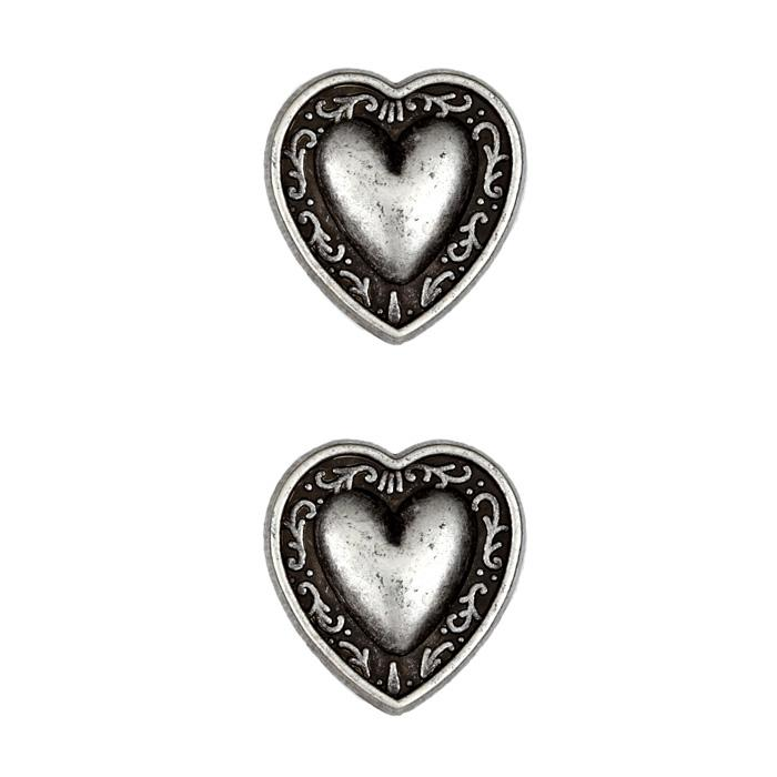 Metal Button 7/8&#39;&#39; Bern Heart Antique Pewter