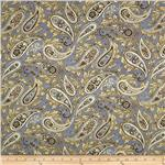 0268432 Esmeralda Metallic Paisley Linen Grey